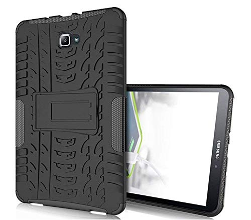 TGK Hard Rugged Armor Defender Hybrid Rubber Bumper Back Case Cover with  Kick Stand for Samsung Galaxy Tab A 10.1 Inch 2016 T580, T585, T587 (Black) 3e1d8ae14dc0