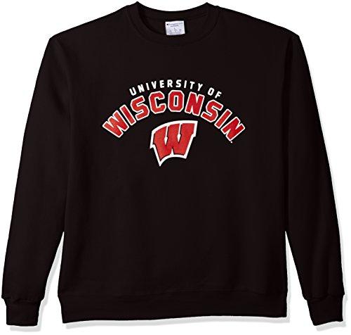 Champion NCAA Wisconsin Badgers Men's Power Blend Fleece Crew Neck Sweatshirt, Large, ()