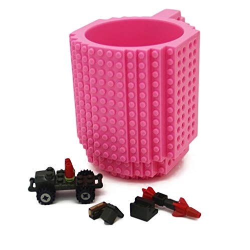 FLG Supersales New Build-On Brick Mug Creative DIY Building Blocks Coffee Cup Water Bottle Puzzle Toy Mug 12oz 350 ml Desk Ornament (Rose) - Desk Mug 12 Ounce