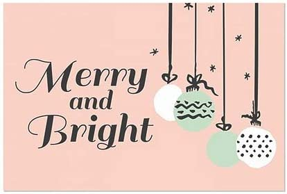 30x20 Merry and Bright Peach Window Cling Holiday Decor CGSignLab 5-Pack