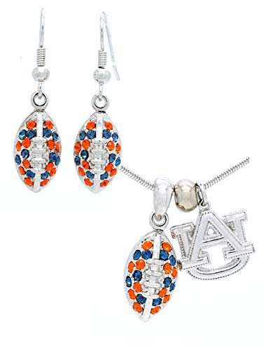 AUBURN FOOTBALL NECKLACE AND EARRING SET MINI - NAVY & ORANGE CRYSTALS - TIGERS ()