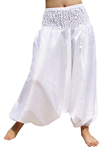 RaanPahMuang Textured Thick Thai Silk Mao Harem Jumpsuit Smock Waist Pants, Medium, Pure White
