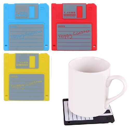 Pack Of 4 Mixed Colour Funky Floppy Disk Drink Coasters