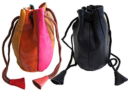 One Pair Soft Lambskin Leather Change Pouch Jewelry Bag Drawstring Closure in 2 Color - 1BLACK + 1MULTIPLE Color