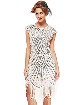 Women's 1920s Art Deco Flapper Dresses-Sequined Beaded Fringed Emblished Great Gatsby Dresses