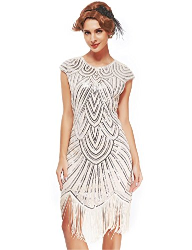 Women's 1920s Flapper Dresses - Sequined Beaded Fringed Emblished Great Gatsby Dresses (Beige, XXL)]()