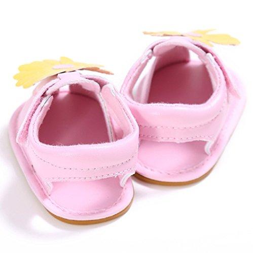 Bebé Prewalker Zapatos Auxma Bebé Niño Niñas PU Cuero Flor Suela Suela Plana Sandalias Zapatos para 3-6 6-12 12-18 meses Rosado