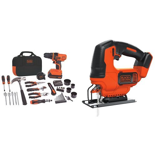BLACK+DECKER LDX120PK 20-Volt MAX Lithium-Ion Drill and Project Kit w/ BDCJS20B Lithium Jigsaw Bare Tool, 20V