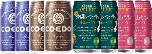 リキュール×クラフトビール8本セット(和歌山もも 完熟沖縄シークヮーサー COEDO コエドビール 瑠璃(ruri)COEDO コエドビール 伽羅 (