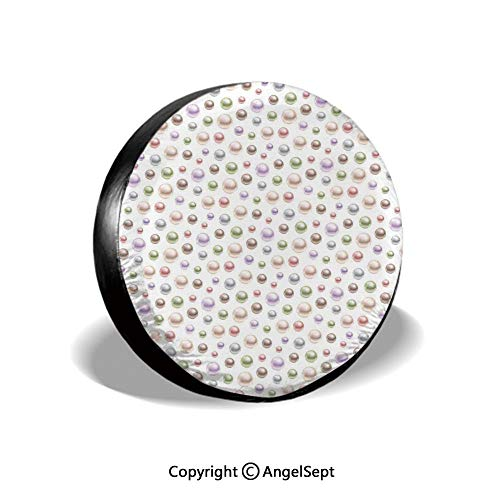 Tire Cover,Colorful Pearls 3D Art Illustration Pattern Treasure Collection Bridal Style,White Pastel,for Jeep Trailer SUV RV and Many Vehicles,15 - White Collection Treasures