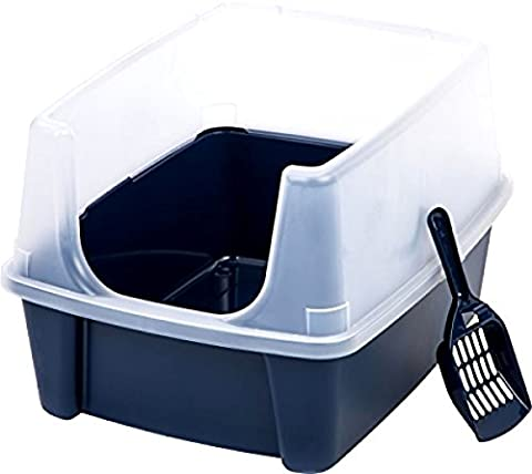 Pet Cat Kitty Open Top Cats Litter Box with Shield and Scoop Tidy :New - Cage Shield
