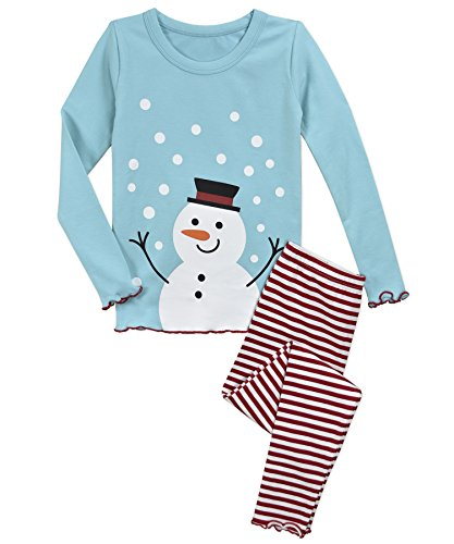 Sara's Prints Girls' Big Sweet Ruffle Edged Snug Fit Pajama Set, Snowman red Stripe, 8 (Pajama Set Snowman)
