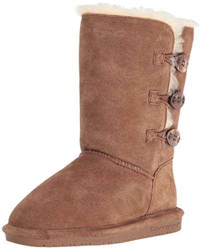 Bearpaw Boots Girl Lauren Toggle Suede Sheepskin 2 Child Hickory ()