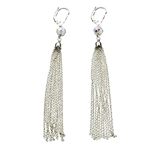 Crystal Chains Tassel Earring - Sterling Silver Cable Chain Crystal Tassel Earrings Made with Swarovski Crystals