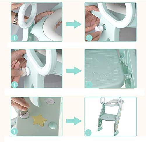 Aseo Escalera Asiento Escalera de Niños, Escalera wc, Adaptador WC para Niños con Escalera Antideslizante, Plegable, Altura Ajustable para 1-8 niños, Verde: Amazon.es: Bebé