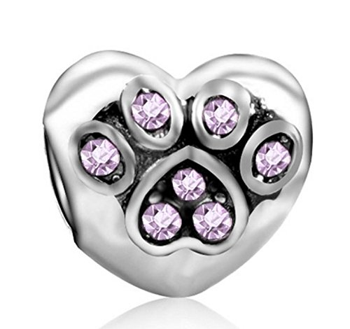 Heart Charms Amethyst (J&M I Love my Pet Paw Heart with Light Amethyst Crystals Charm Bead for Charms Bracelets)