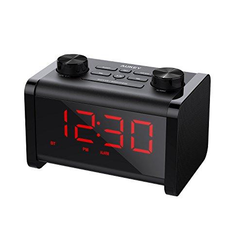 AUKEY Alarm Clock Radio, Bluetooth Speaker with FM Radio, Alarm Clock, and Adjustable Brightness LCD Display
