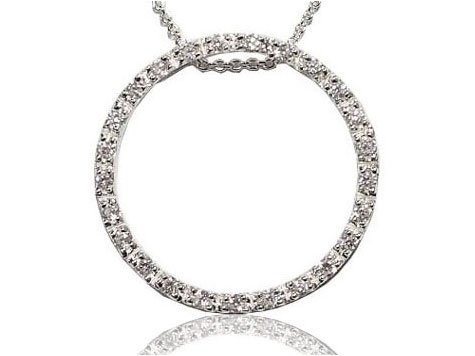 Rhodium Plated Sterling Silver White CZ Circle of Life Pendant 16