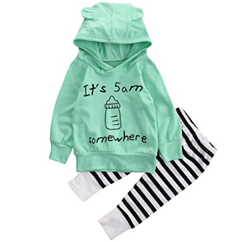 Leegor Baby Milk bottle hooded Sweatshirt Top+striped Long Pants Outfits Clothes (18M)
