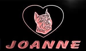 vdg148-r Joanne Pit Bull Dog Name Love Neon Night Sign