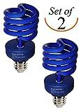 SleekLighting 23 Watt T2 BLUE Light Spiral CFL Light Bulb, 120V, E26 Medium Base-Energy Saver (Pack of 2)