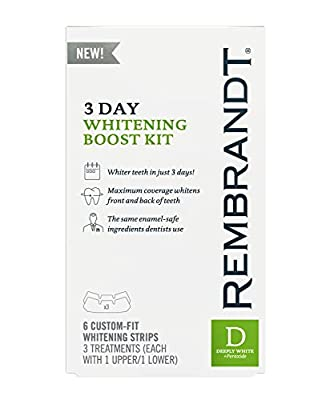 Rembrandt 3 Day Teeth Whitening Boost Kit, 6 Custom Fit Whitening Strips (Pack of 4)