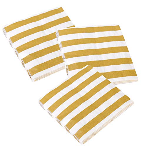 Xena 100 Piece Gold White Elegant Vintage Foil Stripe Party Cocktail Napkins Holiday Party Supplies Beverage Christmas New Years Decoration Folded Paper DIY