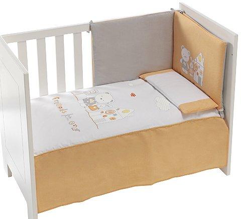 Arancione 3 Paraurti da culla 60x120 cm Arancione 91128 Set di 3 pezzi Trapunta Interbaby Cuscino per letto