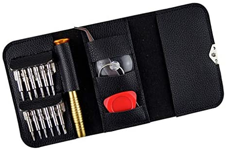 レザーカバー付き 携帯電話 修理工具キット 16点セット 精密ドライバーセット