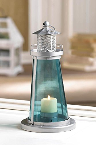 Nautical Blue Glass Lighthouse Watch Tower Candle Lantern (Watch Tower Candle Lantern)