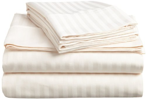 "Egyptian Cotton Queen Sleeper Sofa Bed Sheet Set 400 Thread Count 62""x74""x6"" Ivory Striped"