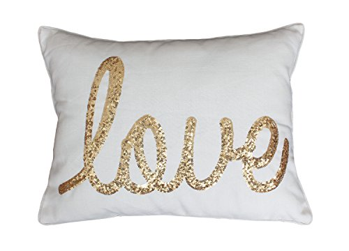 Thro by Marlo Lorenz TH011763010E Love Sequin Script Faux Linen Pillow, Egret (Feather Gold Sequin)