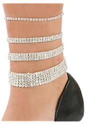 Stretch Anklet Bracelet Austrian Crystal Clear 1 2 3 or 5 Size: 1 row