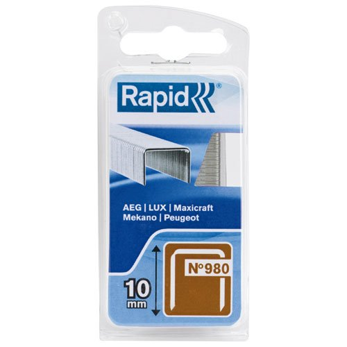 Rapid, 40109546, Agrafes en fil plat N°980, Longueur 10mm, 864 pièces, Pour les outils Swingline, Fil galvanisé