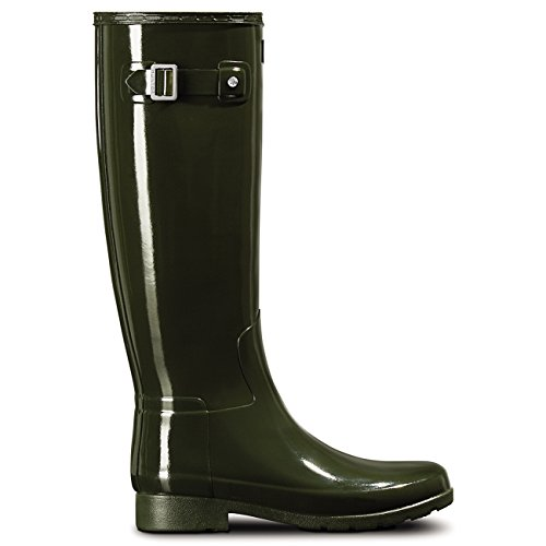 Hunters Boots Damen Original Refined Glanzstiefel Olive