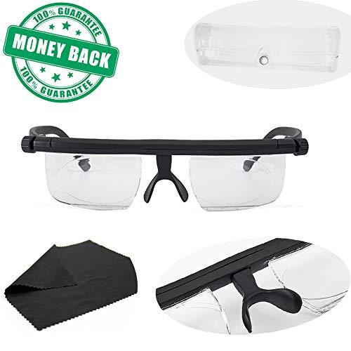 Instant 20/20 Adjustable Glasses with Transparent Glasses Box - Unisex Latest Upgraded Adjustable Eyewear Instant 20/20 Vision 4 Once Non Prescription Lenses Reading Driving Eyeglasses