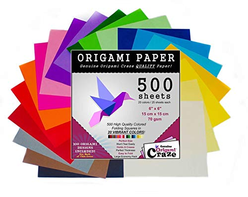 (Origami Paper 500 Sheets, Premium Quality for Arts and Crafts, 6-inch Square Sheets, 20 Vivid Colors, Same Color on Both Sides, 100 Design E-Book Included (See back of the cover for download info))