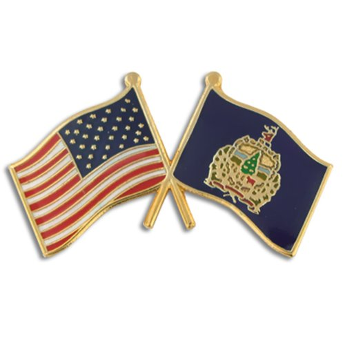 new PinMart's Vermont and USA Crossed Friendship Flag Enamel Lapel Pin big discount