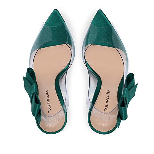 Elegantes De Peep Alto HN Shoes Zapatos Sandalias Green Con Toe Sandalias Tacón Mujer Bowknot wTnTBqxaFA