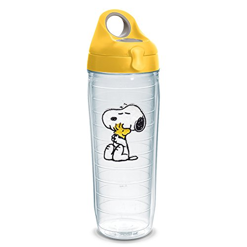 Tervis 1232564 Peanuts - Felt Tumbler with Emblem and Yellow Lid 24oz Water Bottle, Clear (Snoopy Bottle)