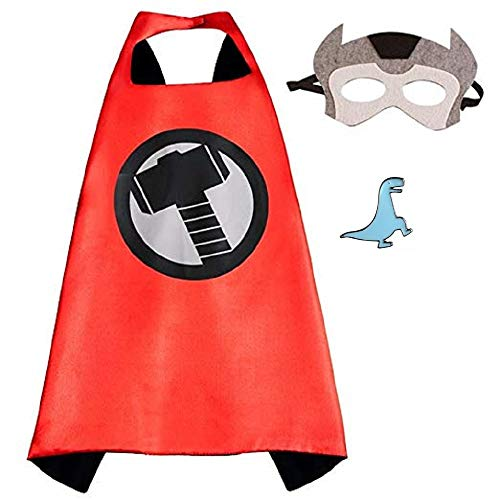 Superhero Cape and Mask Costume for Kids with Pin (Thor) ()