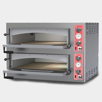 Omcan 40636 Commercial Restaurant Double Chamber SS Steel 11.2 kw Pizza Oven
