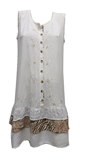 Raya Sun Sleeveless Dress Animal Print Ruffle - Natural (Animal Print Ruffle Dress)