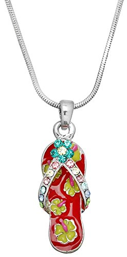 Cute Silver Tone Floral Flip Flop Pendant Necklace - Choose Purple, Red or Blue (Red) - Red Fish Blue Fish Costume Ideas