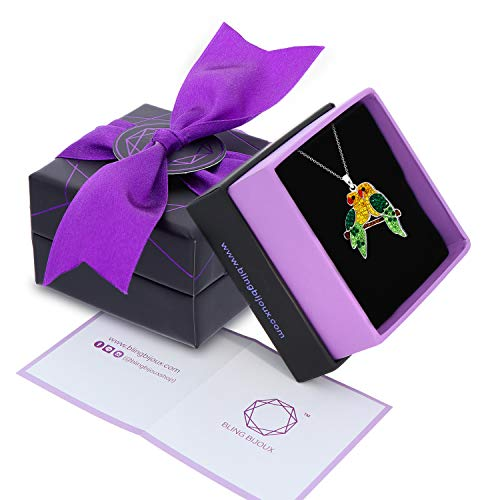 Crystal Scarlet Macaw Bird Parrot Pendant Necklace, Never Rust 925 Sterling Silver for Women, Girls Teens, Natural Hypoallergenic Chain with Free Breathtaking Gift Box for Special Moments of Love