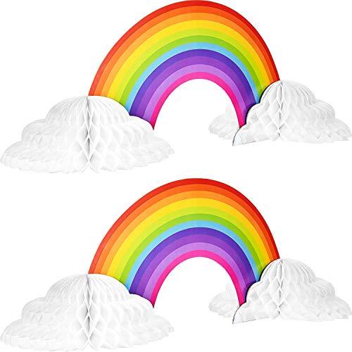 Centro de Mesa de Papel de Panal de Arcoiris Centro de Mesa de Nube de Arco Iris sin Pliegues de Convertir para Decoracion de Baby Shower de Cumpleanos(2 Piezas)