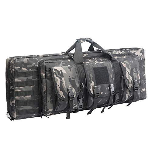 AK47/AR16 Tactical Rifle Case Double Carbine Bag Outdoor Molle Deluxe Double Rifle Gun Bag Padded Long Gun Case & Rifle Storage Backpack(2 Sizes and 6 Colors to chooese from) (BLACK ()