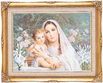 Madonna of the Lillies Framed Art by Discount Catholic Store