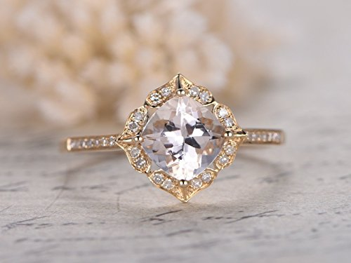 7mm Cushion Cut Pink Morganite Solid 14k Yellow Gold Diamond Engagement Ring Antique Halo Wedding Bridal Set Floral Vintage Anniversary Gift Birthstone Half Eternity