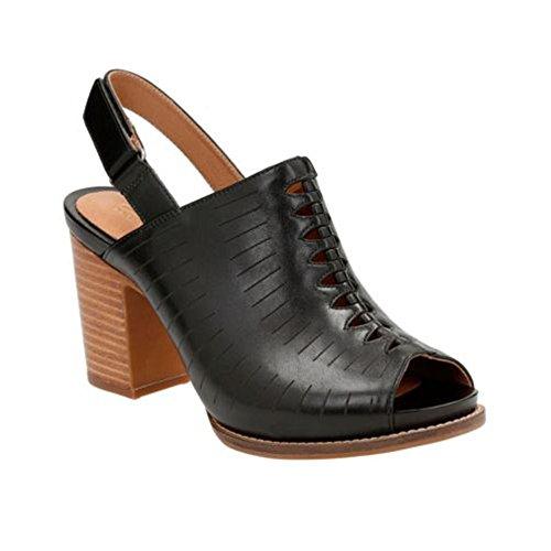 Key Peep Toe 5 7 Women's Sandal CLARKS Briatta New Leather Black qOBZpSnxg